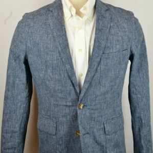 J.Crew unstructured linen blend blue blazer